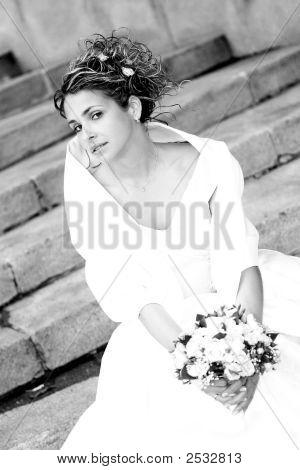 Retrato de una novia sonriente