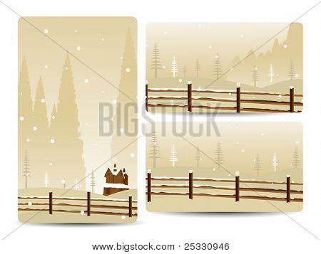 a set of three website banners with winter background for merry Christmas and autumn
