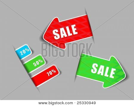 set of sale tag or sticker in red, blue & green color with 20%,  50% & 70% discount for best sale
