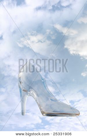 Glass High Heel Slipper With Clipping Path