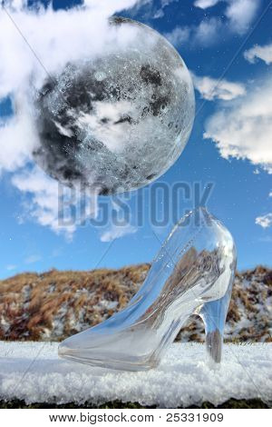 Glass High Heel Slipper With Stars And Full Moon At Midnight