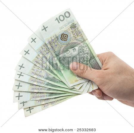 Polish money in hand. Clipping path included.