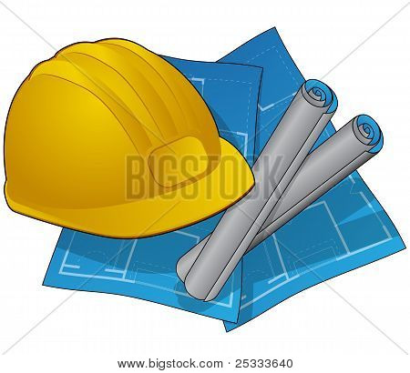 Construction icons withblueprints and hardhat