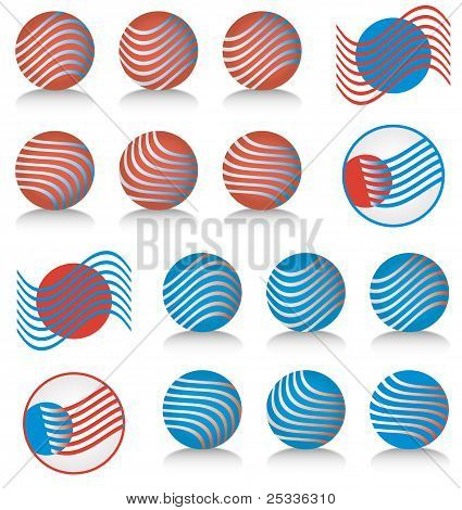 Red White & Blue Icons or Symbols