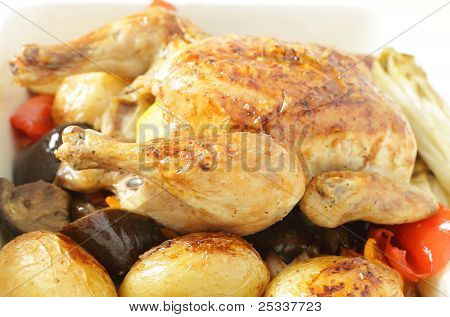 Chicken And Roast Vegetables Side View