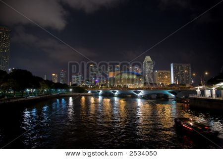 Night View Of Singapore Cityscape