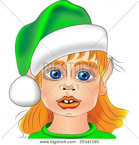 Vector Portrait Of A Christmas Elf Closeup