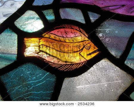 A Stained Glass Window In A Church