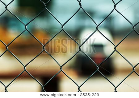 Chain link fence close up.