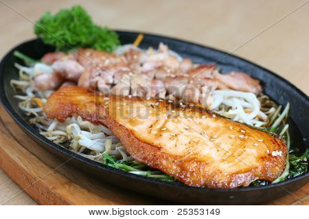 Grilled Chicken And Fish In Terriyaki Sauce