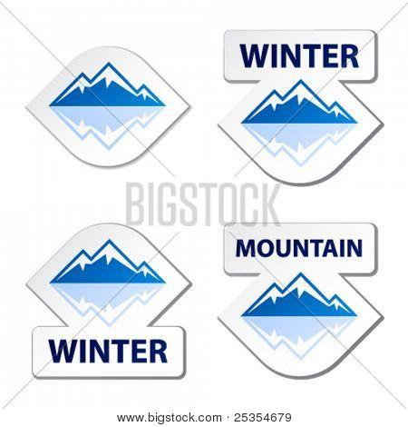Vektor Winter blue Mountain Aufkleber