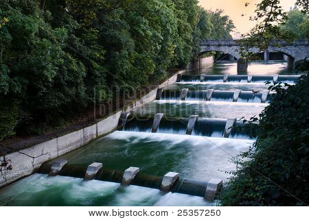 Cascades At The Isar In Munich