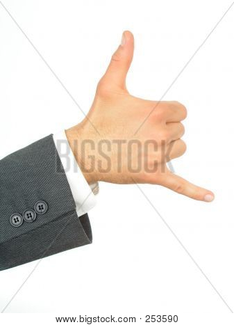 "Businessman's Hand With ""call Me"" Gesture"