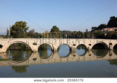Medieval Stone Bridge In Beziers, France