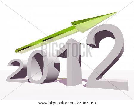 Hochauflösende konzeptionelle 2012 Jahre als Grafik mit einem grünen Pfeil, isolated on white background