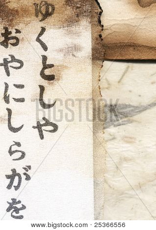 japanese writing and textile background