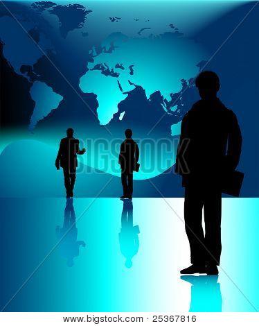 gente de negocios y el mapa del mundo