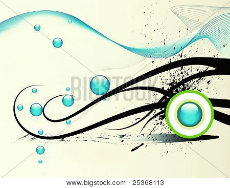 hi-tech abstract grunge background with aquatic elements
