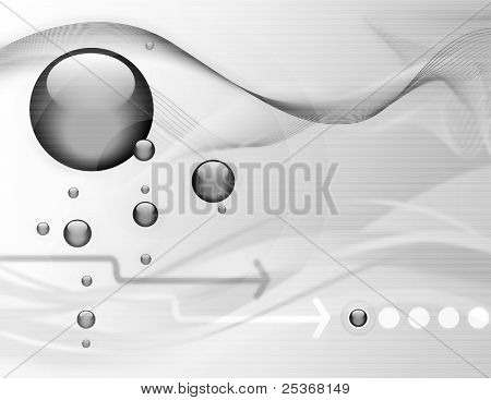 hi-tech abstract background with droplets and aquatic elements on computer display