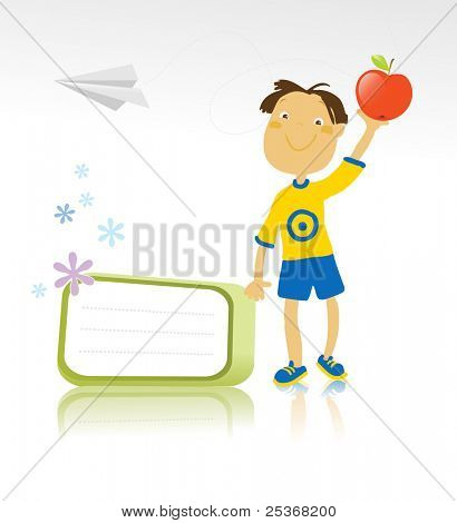 vector illustration of a happy healthy boy holding a red apple