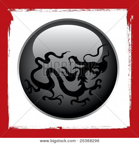 stylized dragon tattoo vector design on black ball and grunge red ink frame