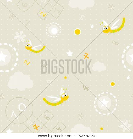 baby wallpaper- seamless pattern of clouds, hopscotch, numbers and smiling dragonfly vector background