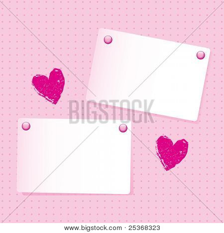 vector illustration of two note papers and two pink hearts on pink spotted wallpaper