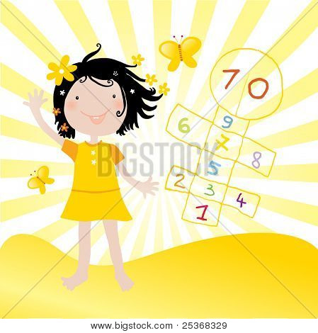 vector illustration of a little happy girl playing hopscotch game in a sunny day