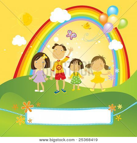 group of happy children in the park with rainbow, clouds and green grass. And a nice label for your text.