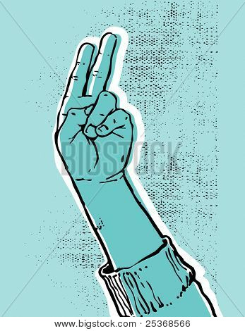 blue hand showing victory or peace sign grunge textured vector illustration