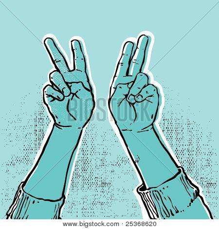 mano azul que muestra la ilustración de vector de victoria o signo de la paz