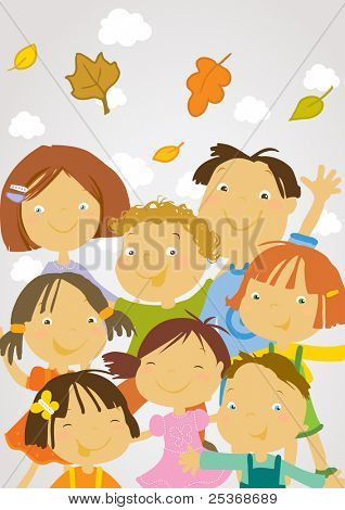 group of happy kids, scholers and preschoolers and autumn leaves in the air, vector illustration.