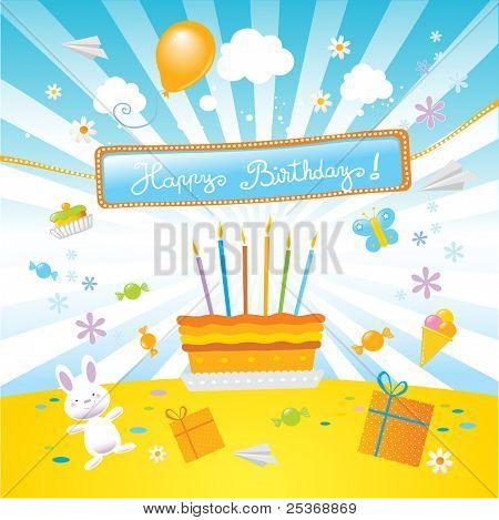 """birthday cake , surprise party and a nice  """"happy birthday!"""" banner, vector illustration"""