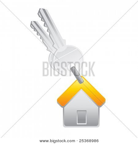 key and house trinket vector illustration isolated on white background