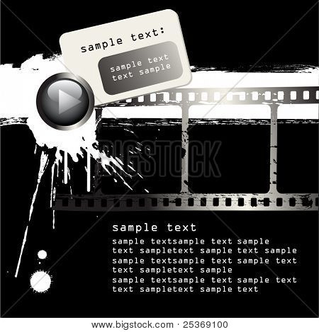 vector grunge film strip and black paint on white background