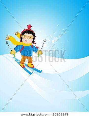 happy kid skiing on a slope, winter season sports vector illustration