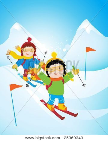 children in winter holiday, ski competition in the mountains, cartoon vector illustration