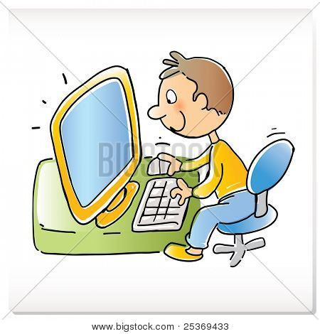 vector cartoon funny boy with computer, hand- drawing style