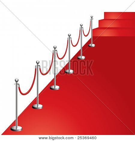 portable velvet rope on red carpet vector illustration, diagonal composition