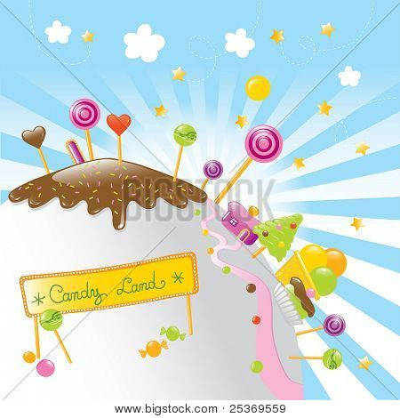 on a fantastic planet there is candy land, just for kids. Vector illustration with a nice banner