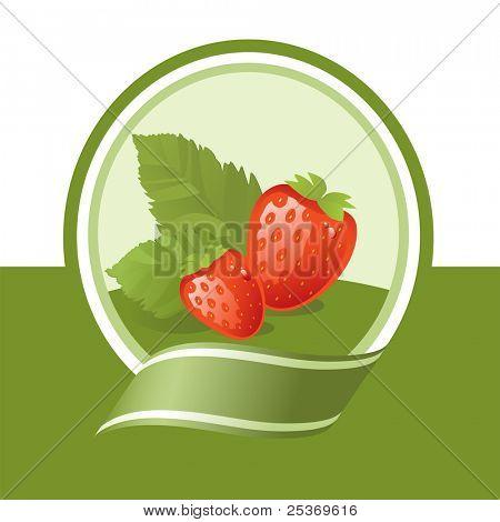 fresh strawberry illustration, vector label