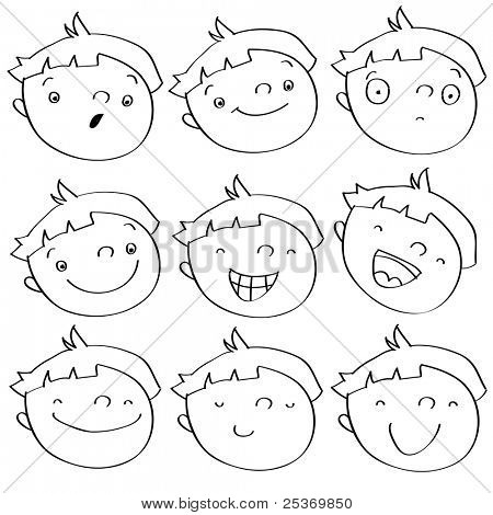 funny cartoon kid's faces having different expressions. See color version in my portfolio