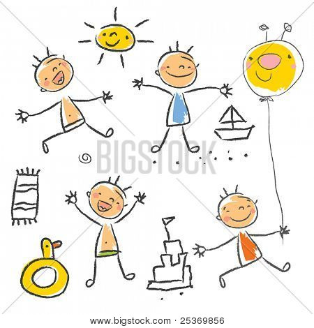 Cute children playing on the beach isolated. Kids drawing style vector, grouped and layered for easy editing.