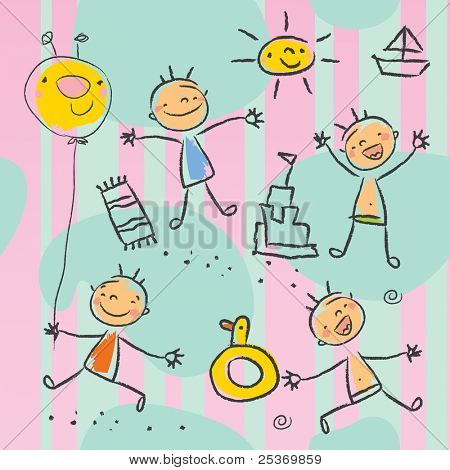 Cute kids playing on the beach, seamless pattern wallpaper. Children drawing style vector, grouped and layered for easy editing.
