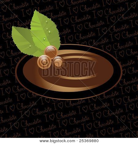 "Assorted chocolate and caramel candies label, isolated on ""i love chocolate"" wallpaper background"