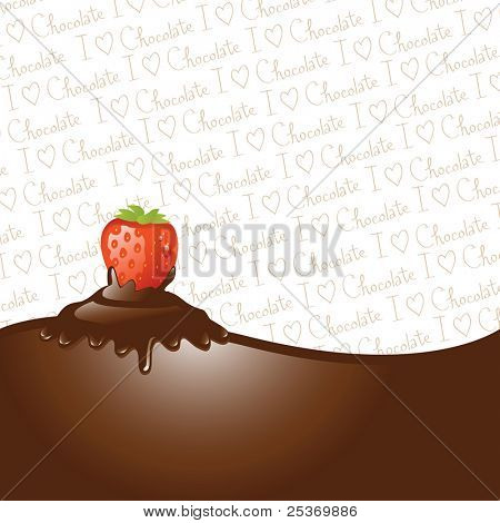 "Chocolate dipped strawberry, icing drips, border and ""I love chocolate"" wallpaper"