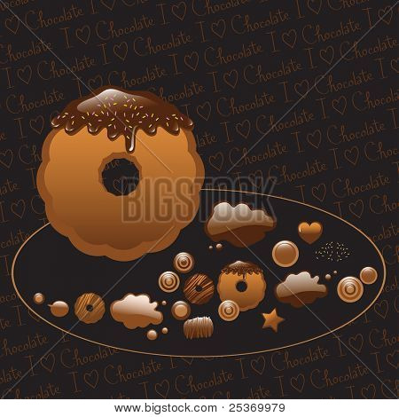 Chocolate dipped cookie, cakes and candies, isolated on