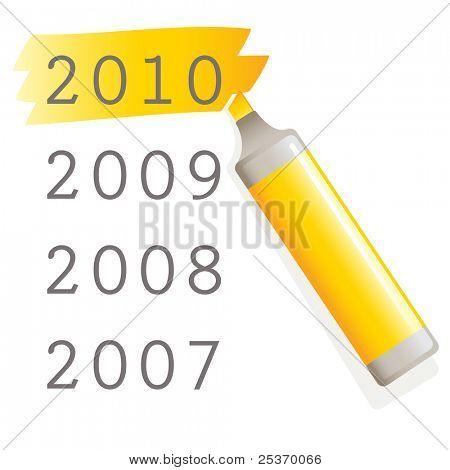 vector yellow marker pen highlighting new year 2010