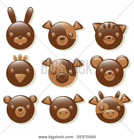 chocolate animals set isolated on a white background