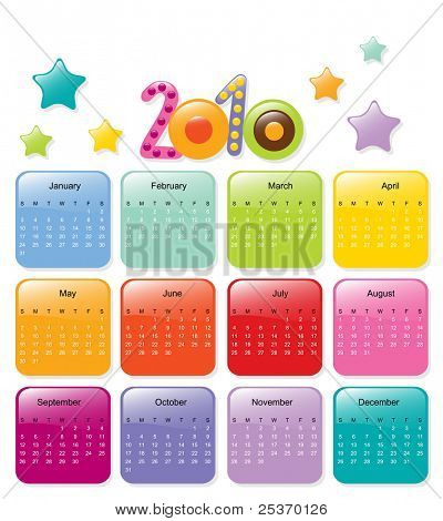 new year 2010 colorful kids toy vector calendar